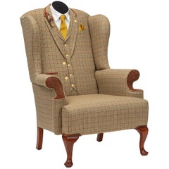 Midcentury Wingback Armchair 'The Dapper Tweed Hunting Wing Chair'