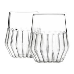 Pair of Czech Clear Contemporary Mixed Medium Water Wine Glasses, in Stock