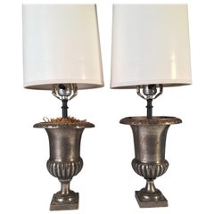 Pair of Polished Steel Urn Lamps