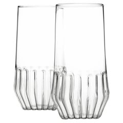 Pair of Czech Clear Contemporary Mixed Large Water Beer Glasses, in Stock