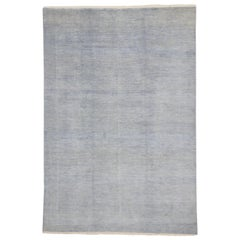 New Modern Transitional Gray-Blue Area Rug with Minimalist Contemporary Style