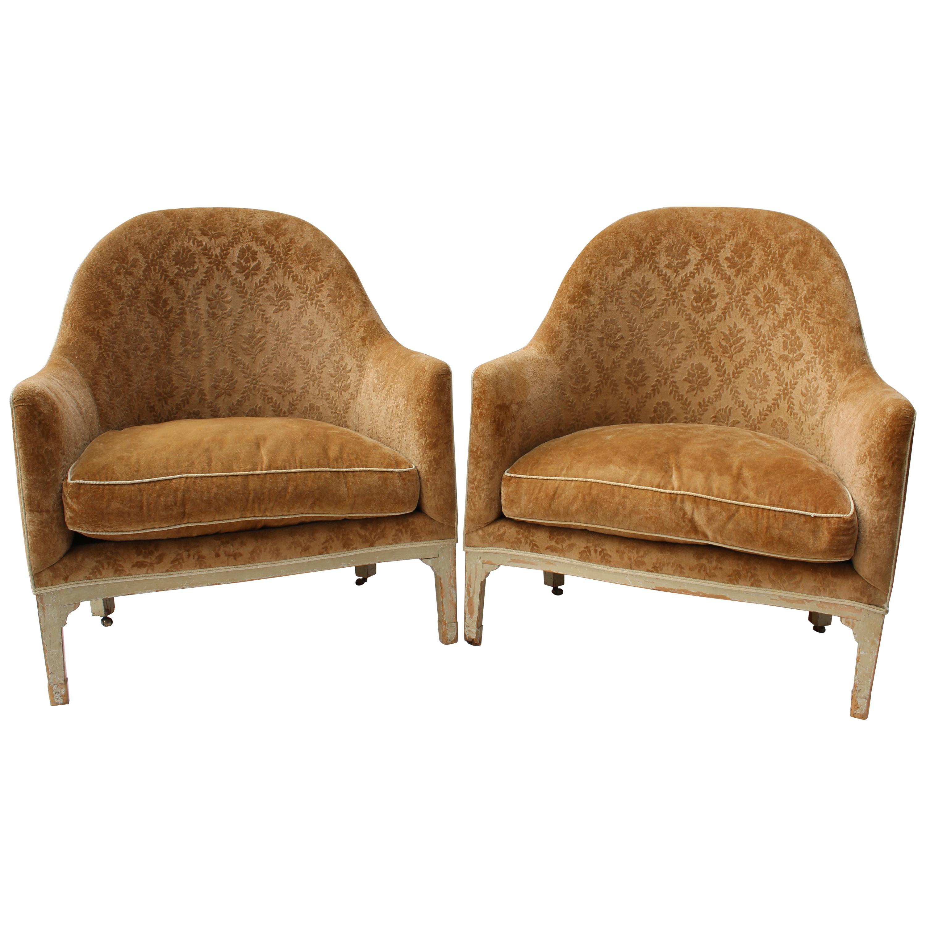 Pair of Large 19th Century French Louis XVI Style Bergere Chairs