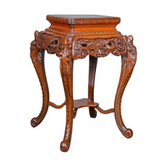 Vintage Pedestal Table Carved Oriental Chinese Elm Side Plant Stand