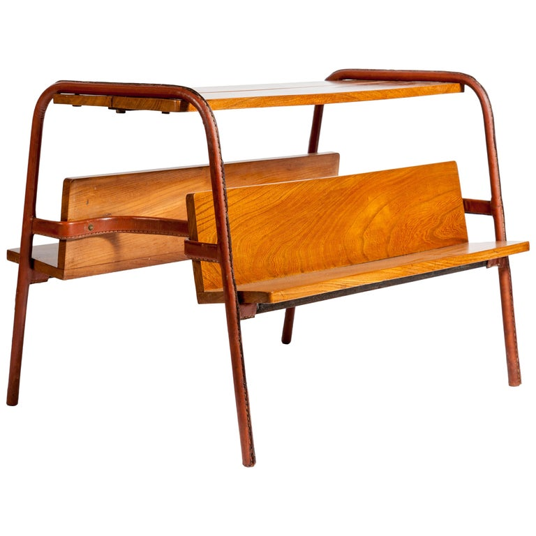 Stitched Leather Table by Jacques Adnet For Sale