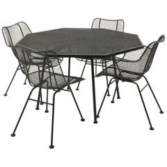 Russell Woodard Sculptura Outdoor/Patio Dining Set, Octagonal Table Four Chairs