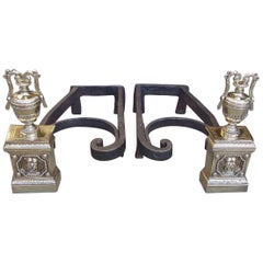 Pair of French Brass and Wrought Iron Lion and Foliage Urn Andirons, Circa 1790