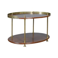Antique Ship's Table, English, Mahogany, Brass, Two-Tier, Edwardian, circa 1910