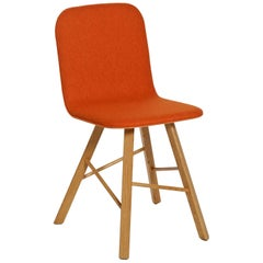 Tria Simple Chair Oak and Orange Upholstered Seat by Colé, Minimalist