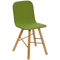 Tria Simple Chair Oak and Green Upholstered Seat by Colé, Minimalist