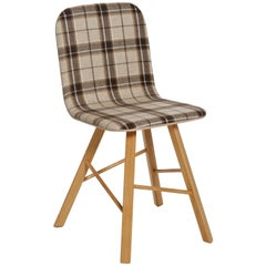 Tria Simple Chair Oak and Beige Tartan Upholstered Seat by Colé, Minimalist