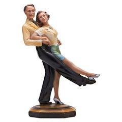 Rare English Art Deco Plaster Dancing Couple Statuette by Ornamental Plaster Co.