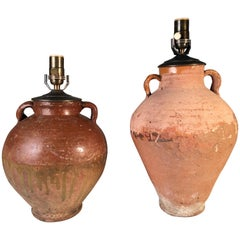Two Antique Terracotta Jars as Table Lamps