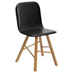 Tria Simple Chair Black Leather Upholstered Seat by Colé, Minimalist