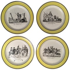 Set of 4 French Empire Plates, Military Theme