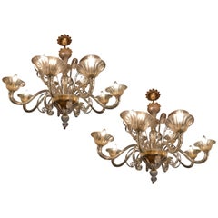 Charming Pair of Murano Chandeliers by Seguso, 12 Arms, Murano, 1980s