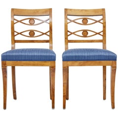 Pair of 19th Century Swedish Birch Side Chairs