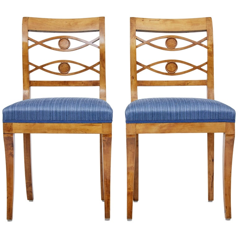 Pair of 19th Century Swedish Birch Side Chairs For Sale