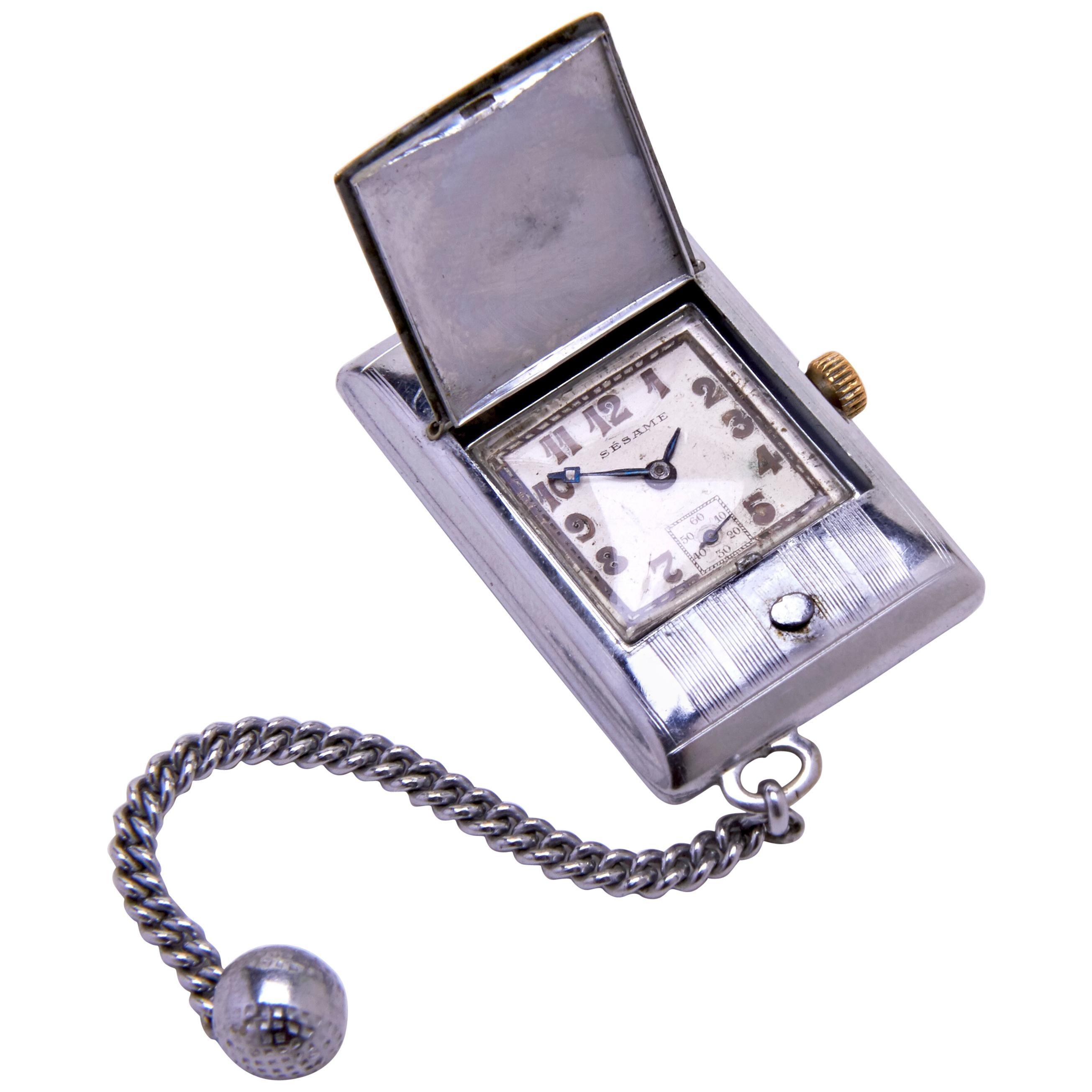 French Art Deco Chrome Plated Golf Bag/ Purse/ Pocket Watch Signed Sesame