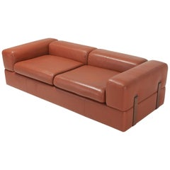 Minimalist Cognac Leather Sofa by Tito Agnoli for Cinova