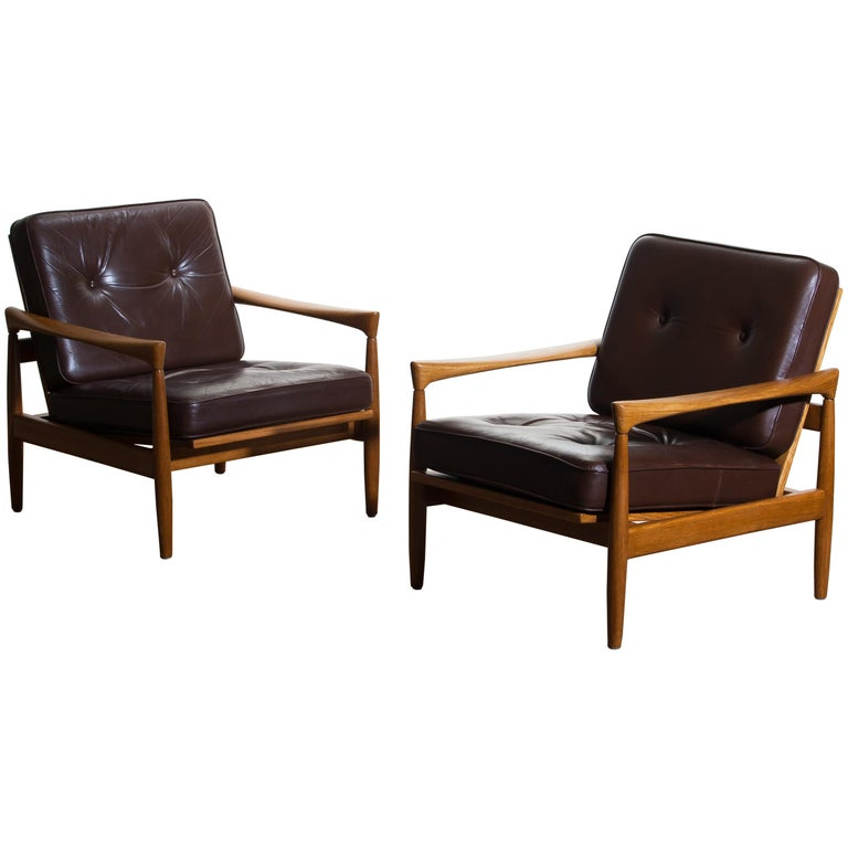 1960s, Set of Two Oak and Brown Leather Easy or Lounge Chairs by Erik Wörtz 1
