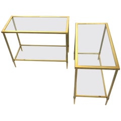 Brass Console Tables Attributed to Maison Jansen, 1970s