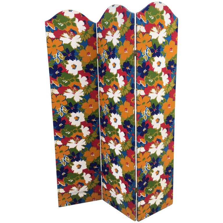 1960s Flower Fabric 3-Panel Screen For Sale