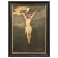 19th Century Italian Great Oil Painting on Canvas Crucifixion of Jesus