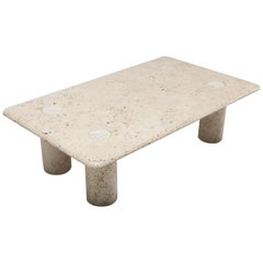 Angelo Mangiarotti Travertine Coffee Table for Up & Up