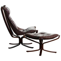 1970, Dark Brown Leather Sigurd Ressel Falcon Chair and Ottoman for Vatne Mobler