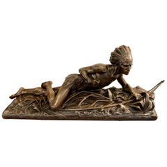 Edouard Drouot Original Bronze American Indian Hunting