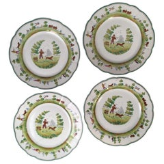 Set of 4 Vintage Cowell and Hubbard Plates, Hunting Theme