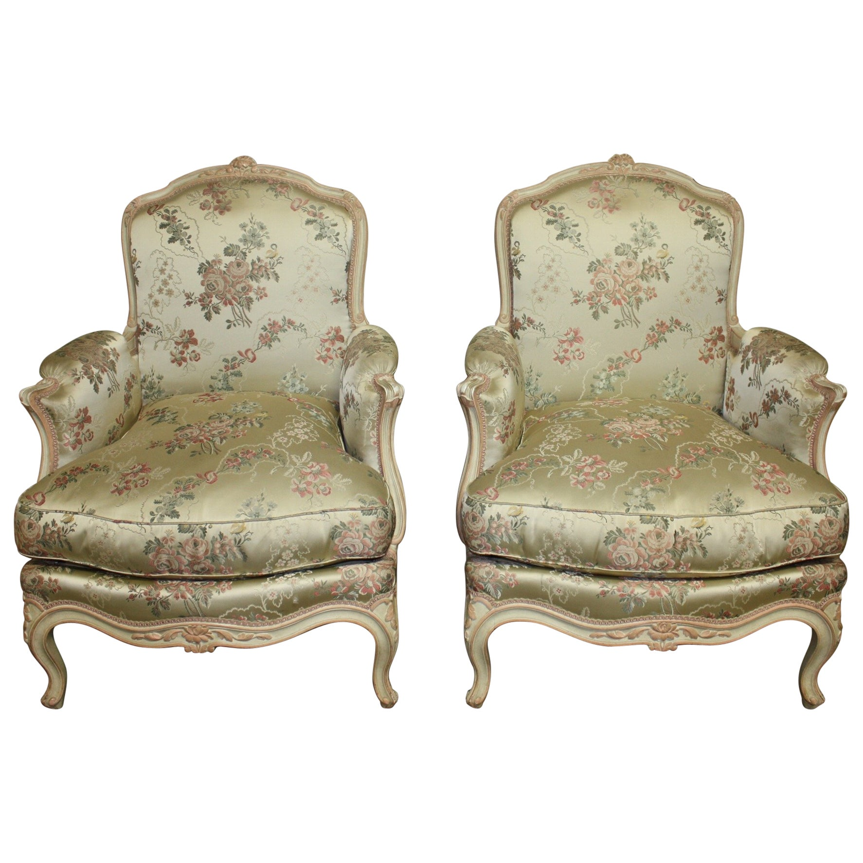 Louis XV Style French Club Chairs