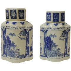 Pair of Blue and White Ceramic Asian Canisters