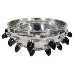 Mexican Mid-Century Modern Sterling Silver and Obsidian Bowl
