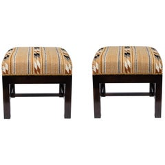 Square Ottomans with Walnut Finish Upholstered in a Vintage Native American Rug