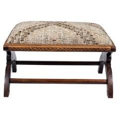 Antique Wood Footstool Upholstered in a Vintage Turkish Rug