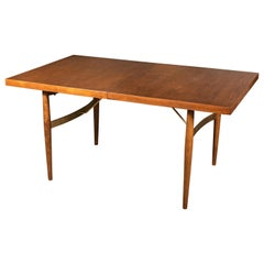 Midcentury Dining Table by Milo Baughman with Amazing Solid Brass Supports