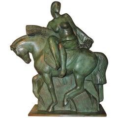 Art Deco Sculpture of a Woman on a Horse by Alphonse Darville Bronze