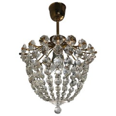 Stylish Little Midcentury Brass and Crystal Glass Murano Pendant Light Fixture
