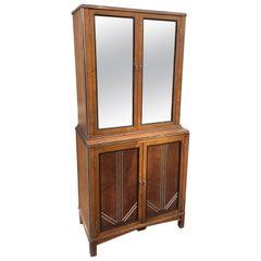 1930s Deco Walnut Apothecary Cabinet
