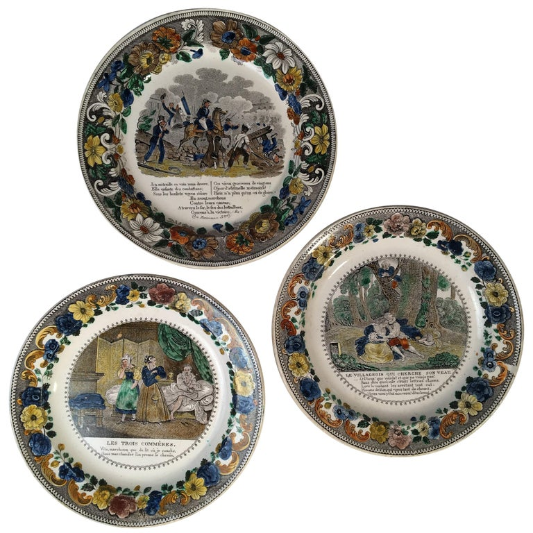 Set of 3 Montereau Pictorial Plates by Louis LeBeuf
