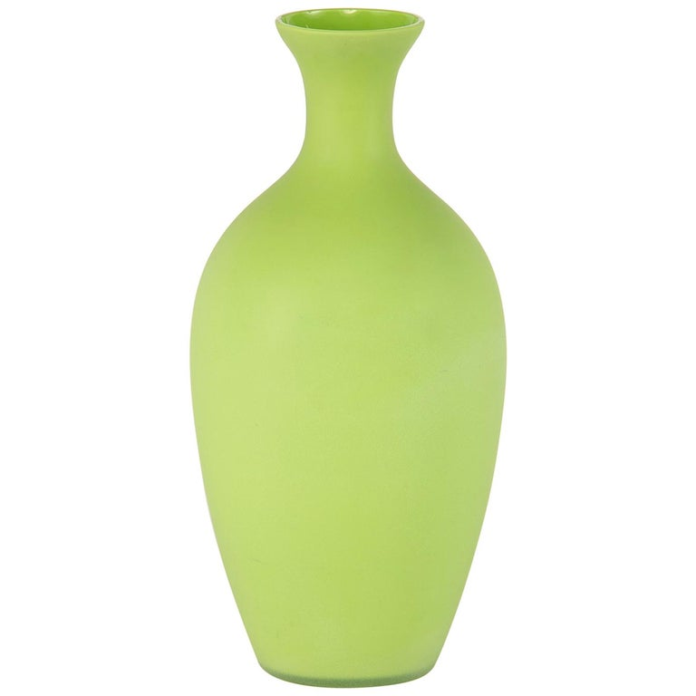 Tall Midcentury Cenedese Murano Glass Green Vase For Sale