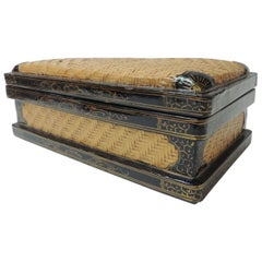Large Rectangular Bamboo and Black Lacquered Asian Decorative Box