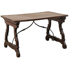 Italian 18th Century Wood Trestle Table with Iron Stretcher