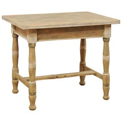 Antique European Wood Table with Transitional Top and Storage