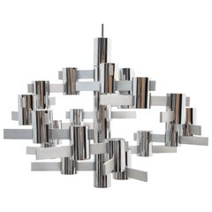 Large Modernist Chrome Chandelier by Gaetano Sciolari, Italy, 1960s