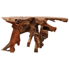 Natural Teak Root Console or Sofa Table