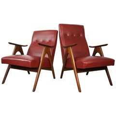 1950s, Design by Louis Van Teeffelen Teak and Bordeaux Armchairs