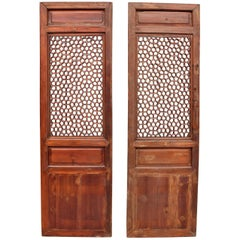 Pair of Antique Chinese Screens, Octagon Wheel Pattern