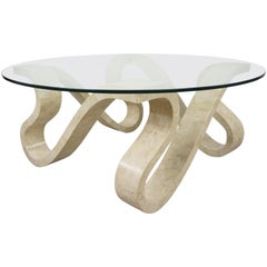 Tessellated Travertine Marquetry and Round Glass Tray Coffee Table